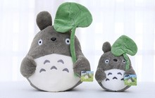 Free shipping 30cm lovely totoro plush toy pillow, my neighbor totoro stuffed animal doll totoro with lotus leaf