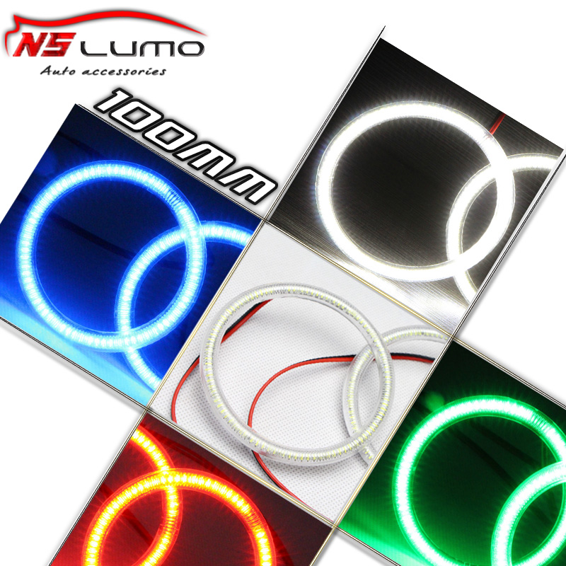 Free shipping 2pcs 100MM Ultra bright white blue red green Colored LED Angel Eyes Halo Rings Kit For universal car & motor(China (Mainland))