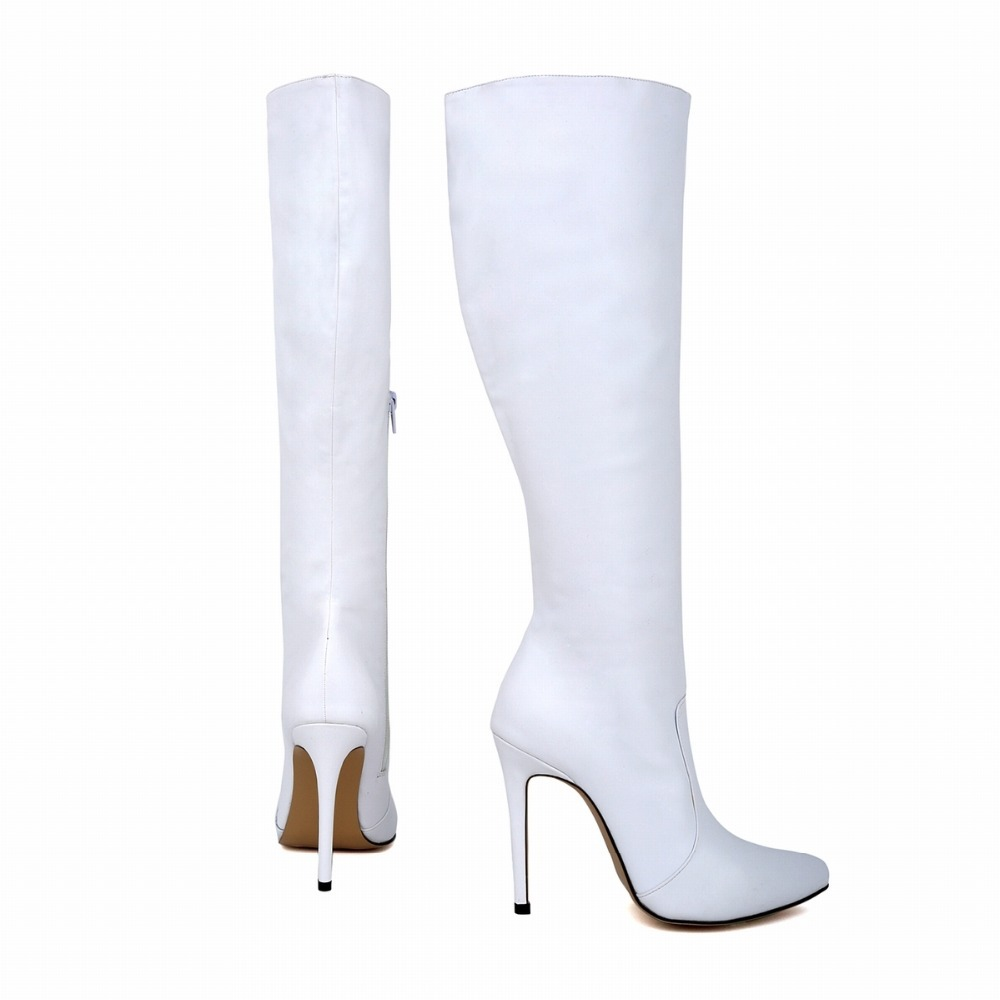 womens leather pointed toe high heels autumn winter mid