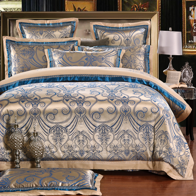 Chinese wedding style Jacquard bedding 100%cotton Bedding Sets Silk Duvet Cover Sets Queen King Size Smoke gray(China (Mainland))