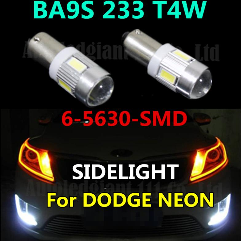 HIGH POWER BA9S SIDELIGHT BULBS FOR DODGE NEON T4W BA9S LED CAR For Samsung 6-5630-SMD LIGHT WHITE BLUE YELLOW RED 2x(China (Mainland))
