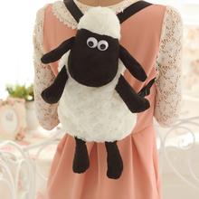 Super cute soft plush cartoon anime Shaun black sheep toy backpack school bag,creative education&birthday gift for children, 1pc(China (Mainland))