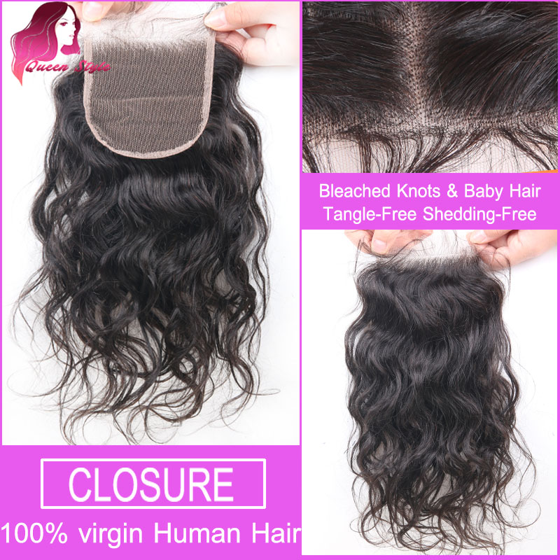 Brazilian Water Wave Lace Closure Free Middle 3 Part Top Lace Closure Bleachd Knots Virgin Human Hair Lace Front Closure Pieces(China (Mainland))