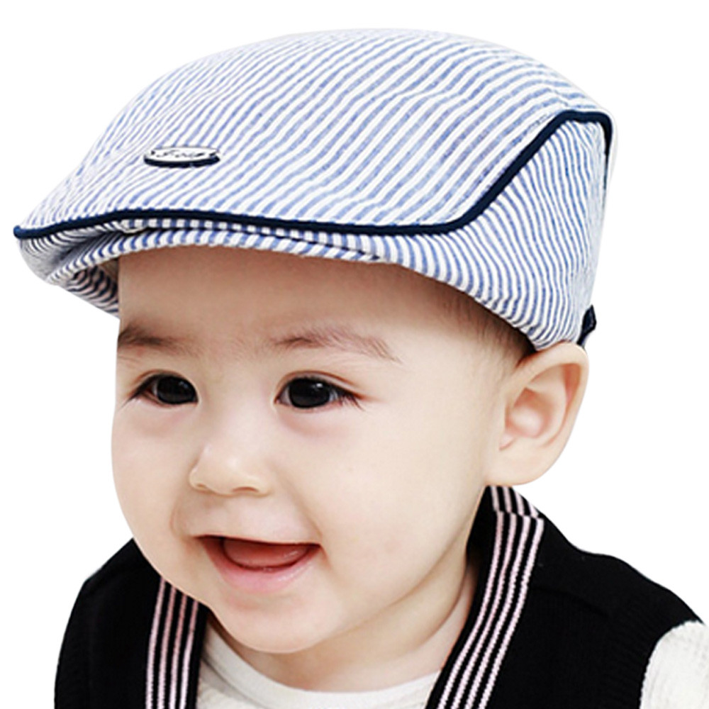 Infant Cotton Baby Boys Girls Hat Soft Hat Baby Cap Photo Props Cute Baby Infant Boy Girl Stripe Beret Cap Peaked Baseball Hat(China (Mainland))