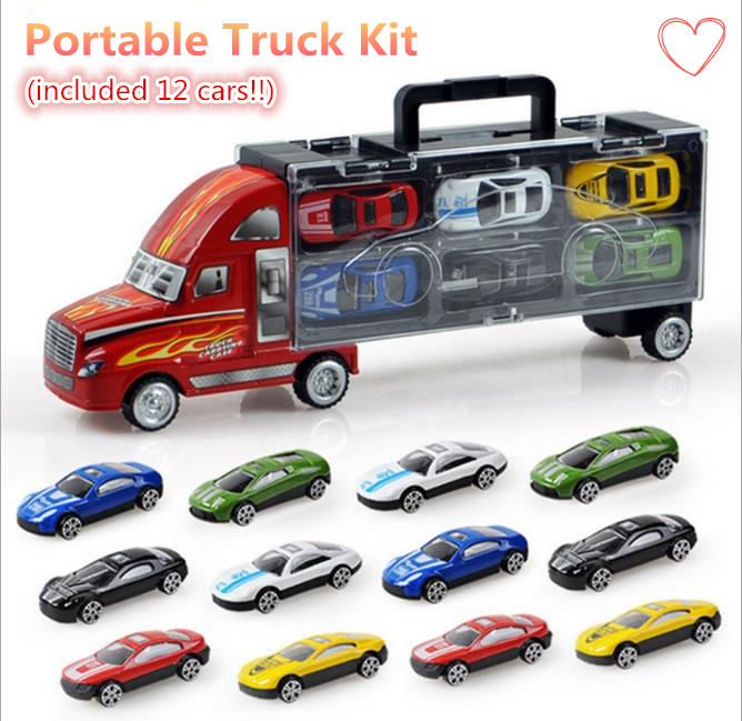Truck Carring/ Potable truck set / 12 pcs alloy cars model toy vehicle cars on big sale best gift(China (Mainland))