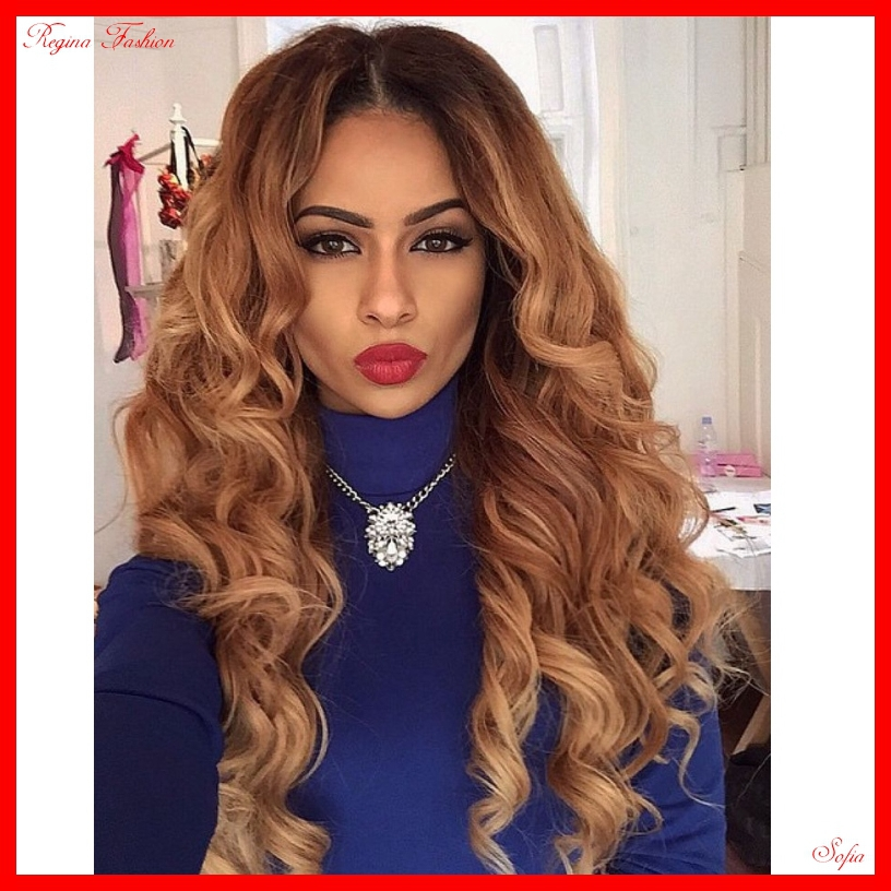 Fashion womens wig wavy hair 1b#/27# full lace human hair wigs ombre color  full head beautiful wigs<br><br>Aliexpress