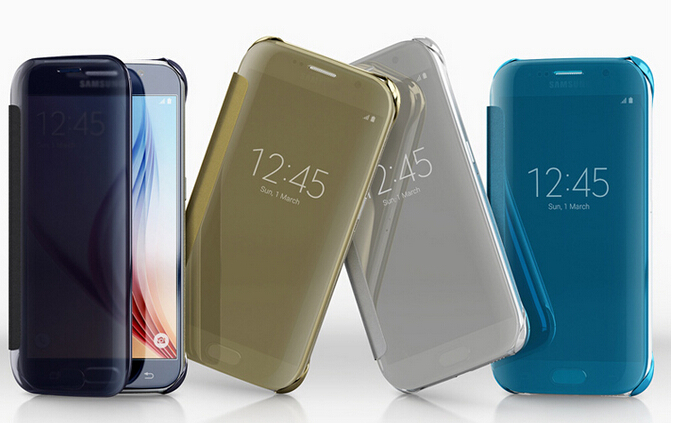 Without Logo Brand Hot Sales Mirror Flip Smart Leather Case Cover Samsung Galaxy S6 STOCK - GSD Industrail Co.,Ltd store