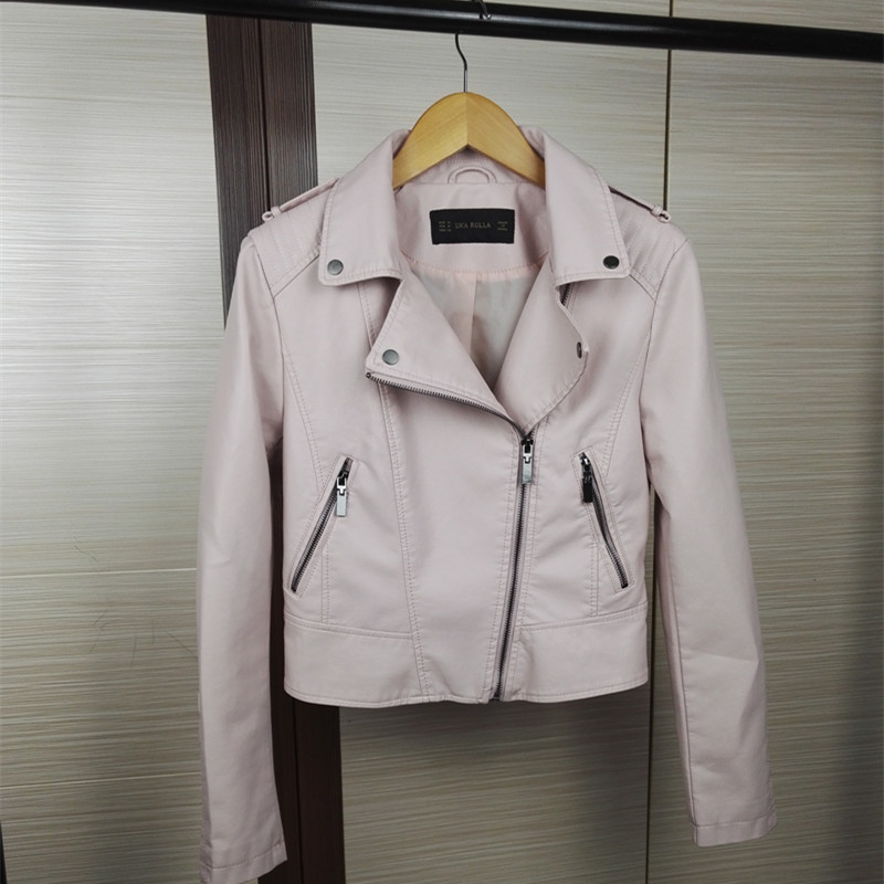 New Europen style bomber pink leather jacket women shorts women detachable sleeves jaqueta couro casual 4 color leather jackets(China (Mainland))