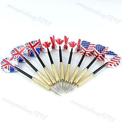 "B86""9PCS Tip Copper Darts Needle National Flag Flights Play Dart Steel Throwing Toy(China (Mainland))"
