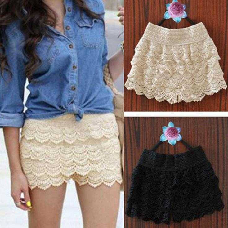 promotion big factoryXXL New Summer Woman Shorts Sweet Style Lace shorts Crochet Hollow Elastic Waist Slim Short Pants colorful  -  cn1511920793 store