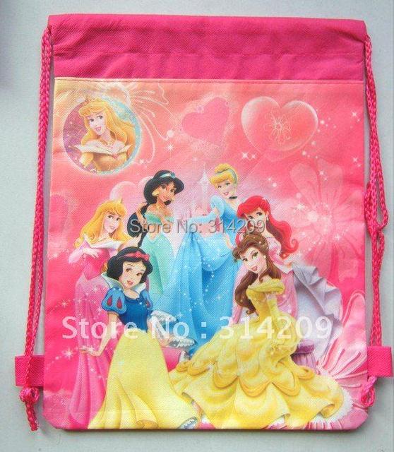 "Free Shipping! Snow White Designs Non-woven Material Kids/Children Cute/Cartoon Drawstring Backpack Bag 15""X11"", 12 pcs/lot"
