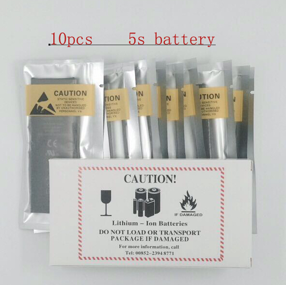 10pcs 1560mAh Cell Phone Battery Li-ion Battery 3.8V Replacement Battery For Apple Iphone 5S Battery Free Shipping