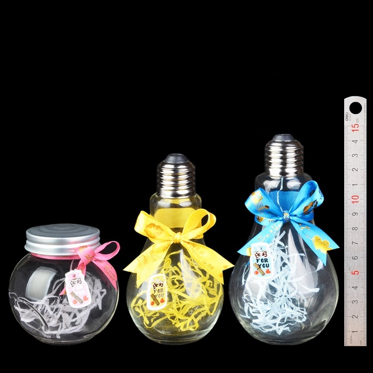 Medium & Large Light Bulb Shaped Glass Bottle Metal Screw Cap Jar Clear Container with DIY Ribbon 3pcs/Lot(China (Mainland))
