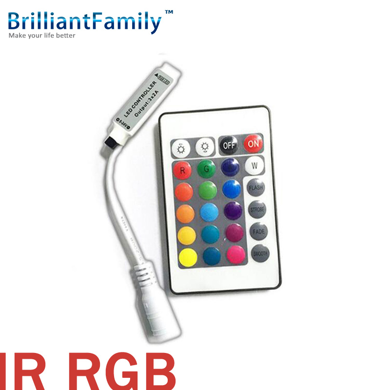 RGB 24KEY Controler IR receiver DC 5V 12 24V 2A LED Strip Controler Mini BRG GRBS BGR infrared colorful Strip controller(China (Mainland))