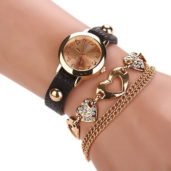 7 Colors luxury heart pendant Bangle bracelet wristwatches women dress watches Faux Leather Rhinestone relogio feminino