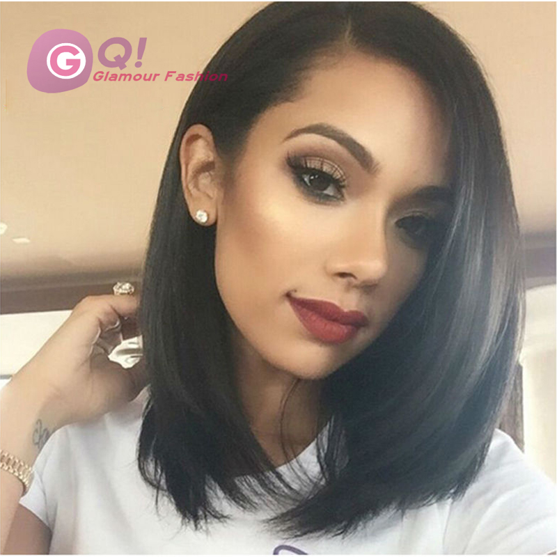 Фотография GQ 8A 130Density Short Bob Hair Brazilian Virgin Hair Full Lace/Front Wig Unprocessed Virgin Hair Bleached Knots For Black Women