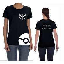 Women New Design 3 Team T-shirt Pokemon GO Style Black Tshirt Plus Size Woman Clothes O-Neck Short Sleeved Tees High Quality