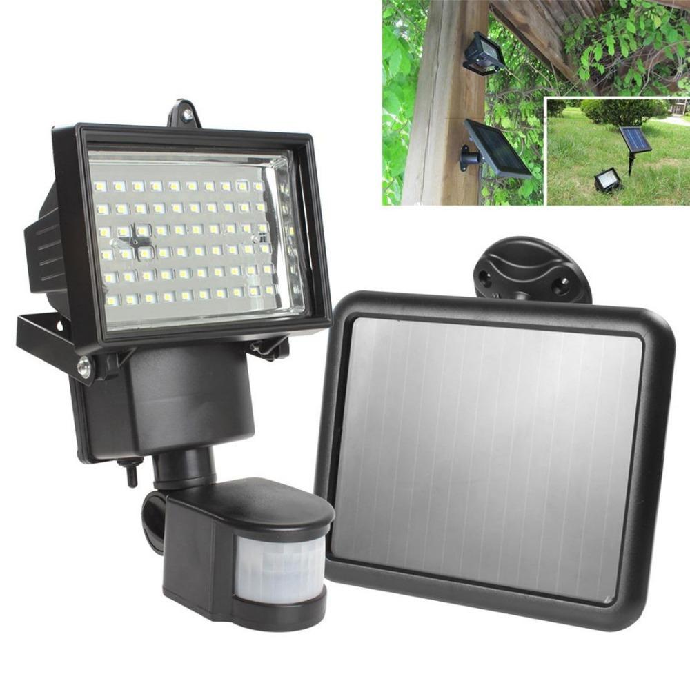 Solar Panel LED Flood Security Garden Light PIR Motion Sensor 60 LEDs Path Wall Lamps Outdoor Emergency Lamp(China (Mainland))
