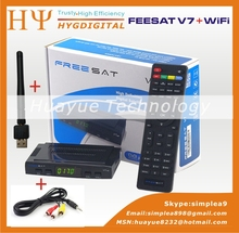Freesat V7 5pcs HD DVB-S2 free WiFi mini satellite receiver support BISS Key Patch,CCCAM Powervu Youtube Usb wifi(China (Mainland))