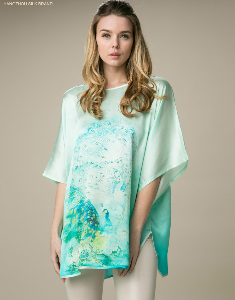 Plus size  women's loose long T shirt  peacock printing tops 100% real silk summer comfortable breathable clothing
