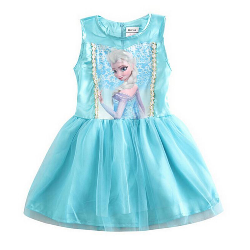 2015 Character Princess Girls Dresses Fashion Lace Tutus Kids Dresses For Girls Cotton Children Clothing Elsa Anna Dress C50<br><br>Aliexpress