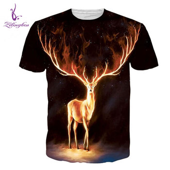 ZiLingLan Brand Elk Painted High Quality Men's Short Sleeves Tops Tees Casual 3D Print T shirts Short Sleeve Us/Eur Size