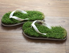 Summer Style House Slippers Leisure Sandals Faux Grass Lawn Slippers Green Home Indoor Flip Flops SH-0103(China (Mainland))