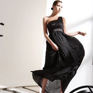 Free Shipping New Fashion 2013 Spring Summer Womens Elegant One Shoulder off Sexy Silk Princess Long Dress Black Wholesale