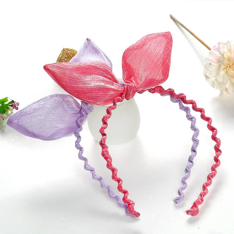 2016 Korean fashion upscale retro colorful satin cloth cute rabbit ears hair bands hair accessories for women wholesale(China (Mainland))