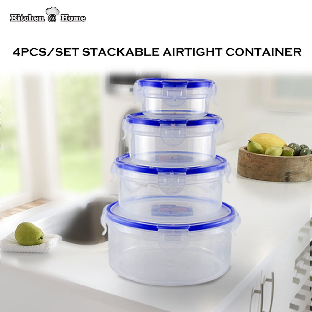 4PCS/Set Clear Airtight Food Storage Containers Keeper Stackable Plastic Fresh Lunchbox Bento 1300ML,650ML,350ML,150ML KK004(China (Mainland))