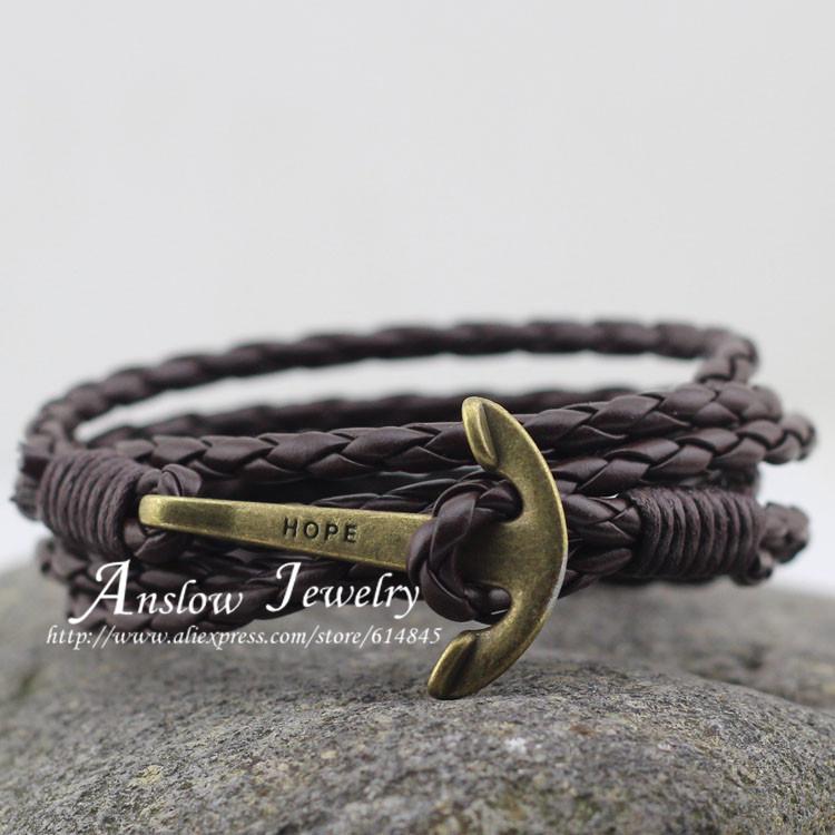 LOW0144LB Fashion Jewelry Men's Bracelet PU Leather 60cm Friendship Unisex Punk Rock Anchor Bracelets Mother Gift - Anslow store
