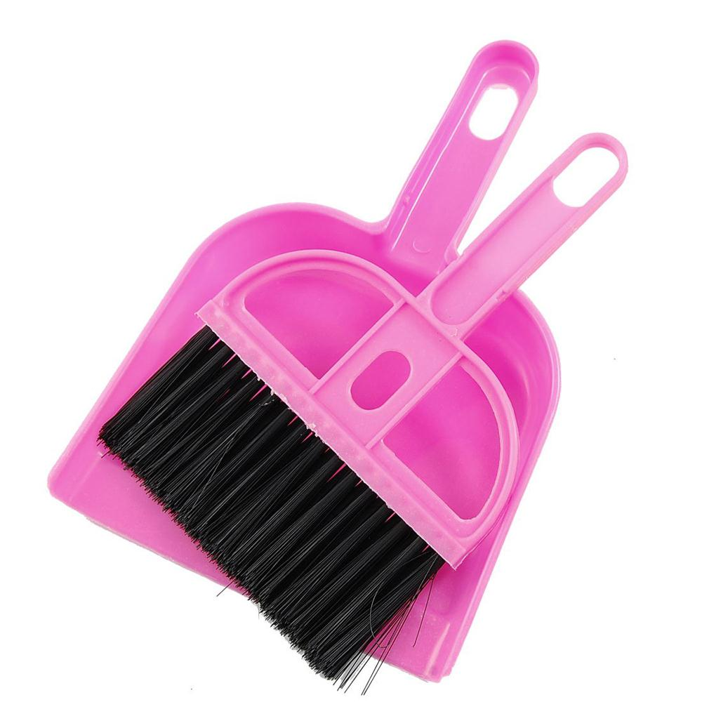 Amico Office Home Car Cleaning Mini Whisk Broom Dustpan Set Pink Black,free shipping(China (Mainland))