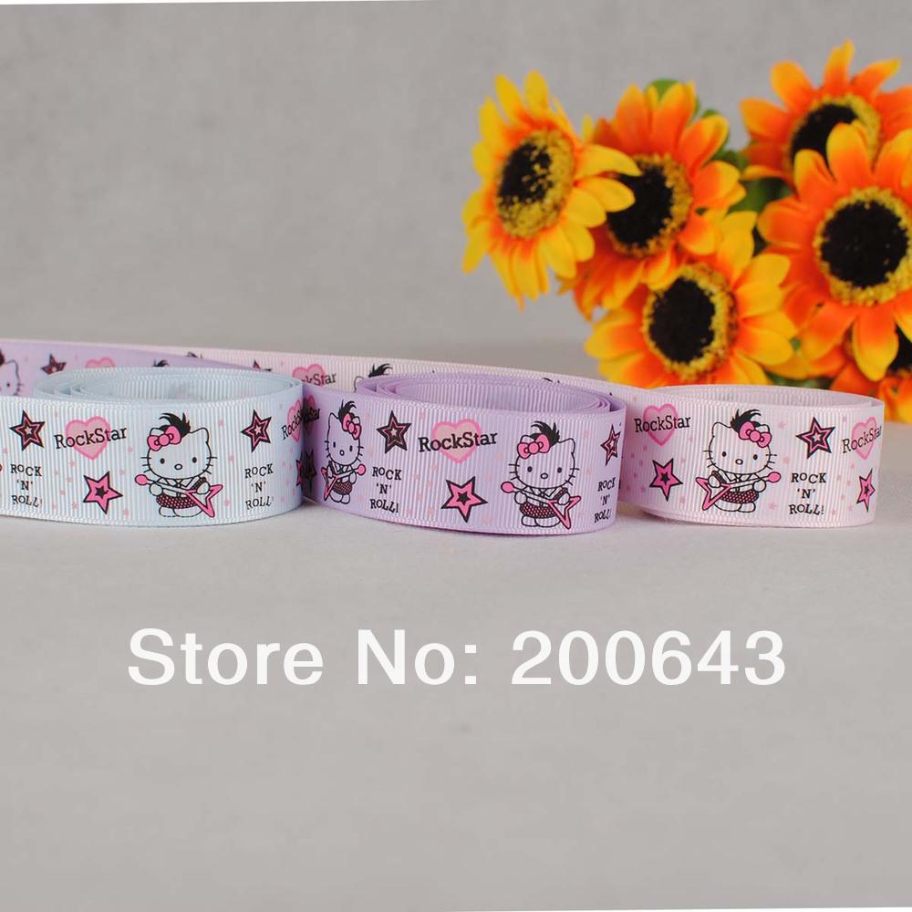"Free shipping 1""(25mm) Hello Kitty Love rockstar Grosgrain Ribbon, Rockstar Kitty ribbon 100yars/lot(China (Mainland))"