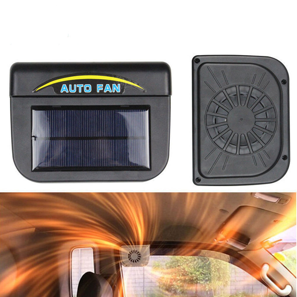 high quality black solar sun power car auto fan air vent cool cooler ventilation system radiator. Black Bedroom Furniture Sets. Home Design Ideas