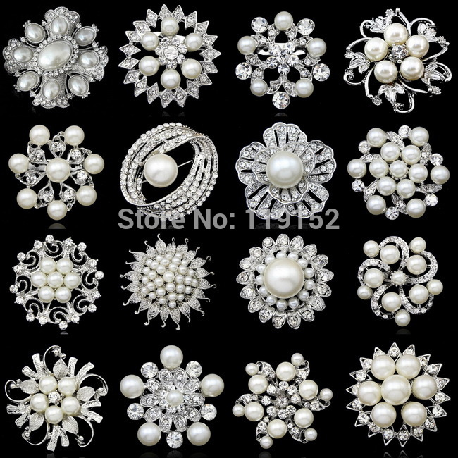 Wholesale Rhinestone Crystal Wedding Bridal Brooches Bouquet Silver Flower Faux Pearl Brooch Pin Scarf Pin Drop Shipping(China (Mainland))