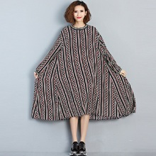 Buy 2017 Spring Autumn Women Plus Size Dress Round Neck Chiffon Full Sleeve Maxi Long Dress Casual Loose Geometric Print Large Dress for $19.15 in AliExpress store