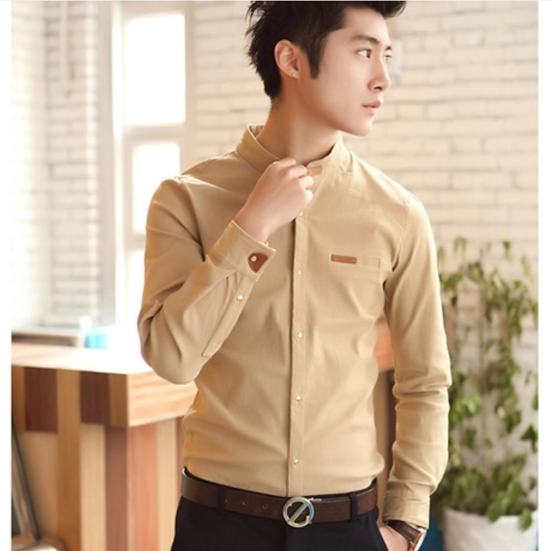 2015 Full Mandarin Collar Lycra Top Fashion Rushed Long-sleeve Stand Collar Leather Buckle On Spring Male Shirt Fashion Slim(China (Mainland))