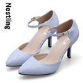 New 2016 Fashion Spring Summer Party Shoes High Quality Ankle Strap Shining Nubuck Leather Women Pumps