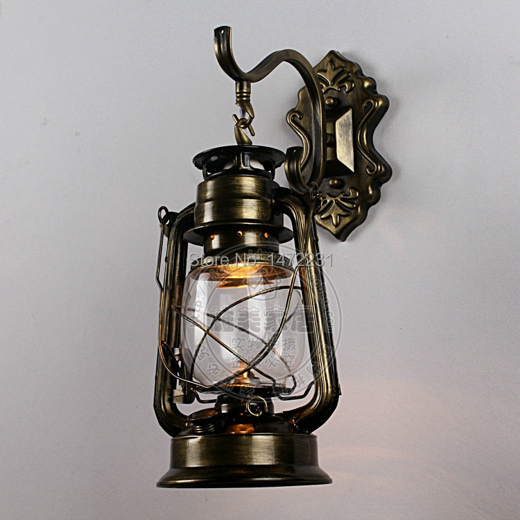 Chinese Lantern Wall Lights : Fashion antique Black/Copper/Bronze Vintage Lantern Wall Lamp Personalized Kerosene Lamp Fashion ...