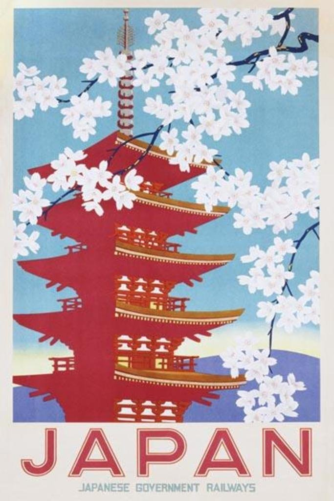 1 X Japan Japanese Government Railways Vintage Travel Advertising Decorative 24x36 inch art silk poster Wall Decor(China (Mainland))