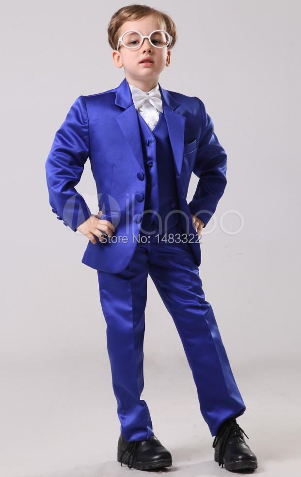 Fashion-Royal-Blue-100-Satin-Boys-font-b