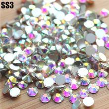 Vente! Super brillant SS3 ( 1.3 mm ) 1440 pcs/saco Clear Crystal AB couleur 3D Non HotFix Flatback Nail Art décorations strass Flatback(China (Mainland))
