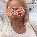 CandisGY Oversized Rose Gold Big Large Size Cat Eye Brand Designer Women Sunglasses Mirror Fashion Vintage