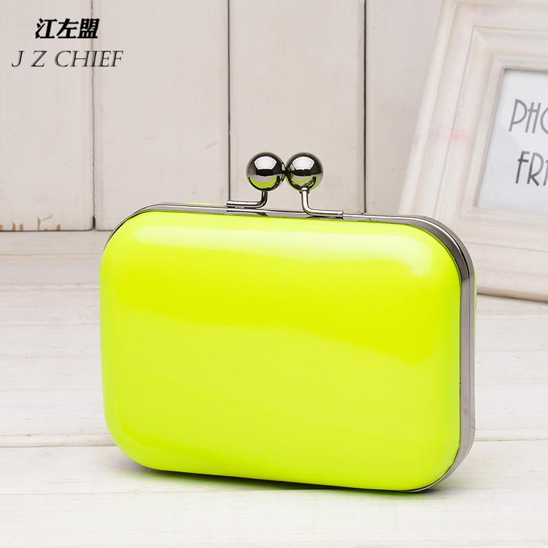 supernova sale 2013 fashion  candy color neon color evening bag mini  day clutch bag leather 3d chain messenger bag