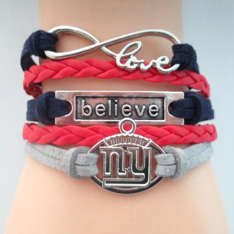 Infinity Love NY GIANTS football Team Bracelet Customized believe Wristband friendship Bracelets B09301(China (Mainland))