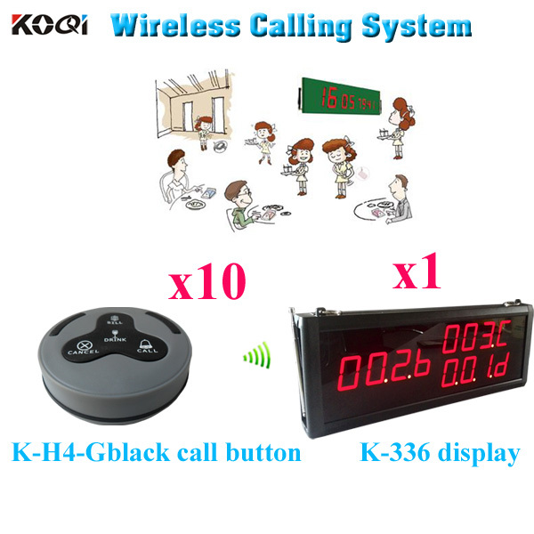 Table Buzzer Call System For Restaurant Electronic Pager Suit In 12v Restaurant Wireless Buzzer( 1 display 10 call button)(China (Mainland))