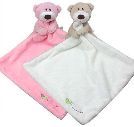 New 1pc Baby Bear Toy Comfort Toy Cute Little Bear Cartoon Animal Soft Plush Multifunctional Saliva towel Baby Care(China (Mainland))