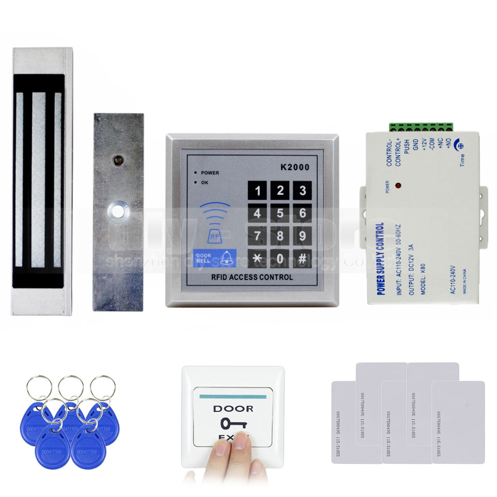 125KHz Rfid Card Reader Keypad Door Access Control Security System Kit + 180Kg Electric Magnetic Lock Door Bell Button K2000(China (Mainland))