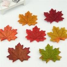 100Pcs/lot Artificial Silk Maple Leaves Multicolor Fake Flower Leaf For Scrapbooking Wedding Party Decoration Scrapbooking Craft(China (Mainland))