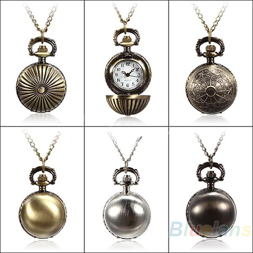 5 Colors Antique Retro Vintage Ball Metal Steampunk Quartz Necklace Pendant Chain Small Pocket Watch For Gift 15A2(China (Mainland))